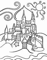 Coloring Pages Sandcastle Printable Castle Coloringcafe Nature Summer Outline Sheets sketch template