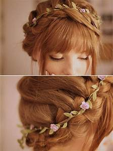 Thin, simple flower crown on braided hair for wedding hair ...