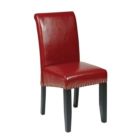 ospdesigns crimson red eco leather parsons dining chair