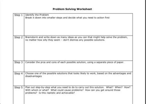 Problem Solving Cbt Worksheets Worksheets For All  Download And Share Worksheets  Free On