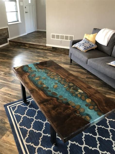 resin  edge coffee table stunning river table stone