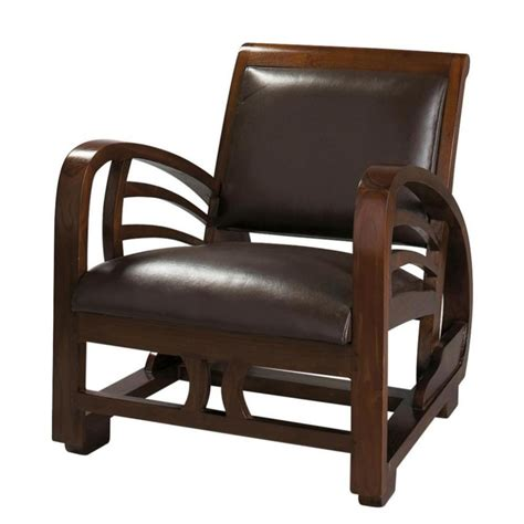 split leather armchair  brown charleston maisons du monde