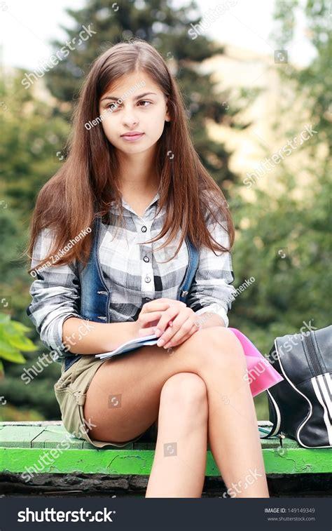 Beautiful School College Girl Sitting On Stock Photo