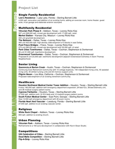 Project List Resume by Resume And Cv