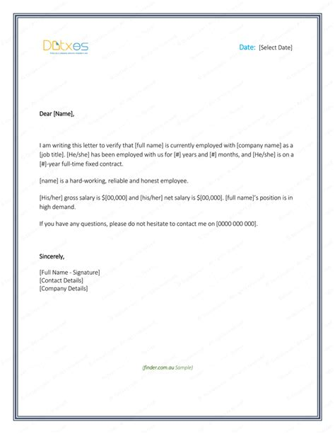 employment verification letter  printable formats