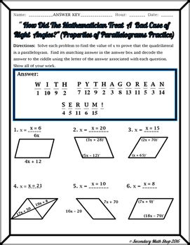 properties  quadrilaterals worksheet key rcnschool