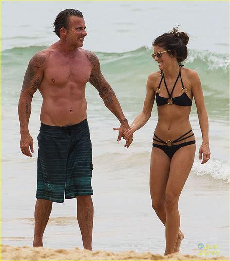 tomhopper bikini annalynne mccord dominic purcell hold hands at the beach