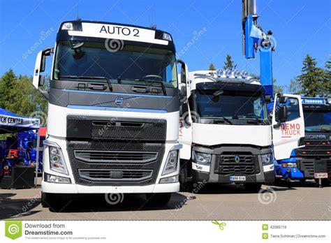 volvo truck range white volvo and renault trucks editorial stock photo