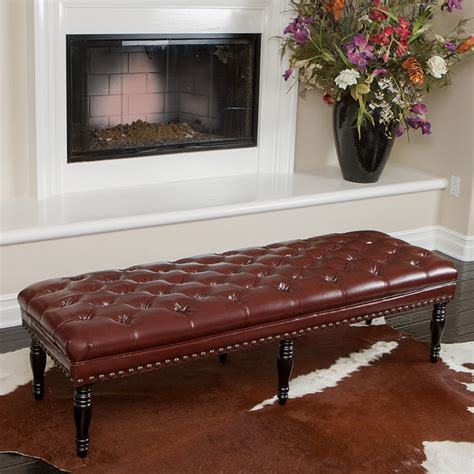 peoria tufted leather bench modern living room los