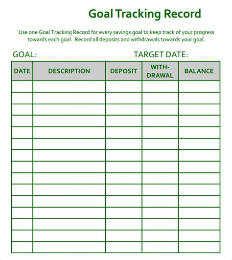 goal tracking samples   excel