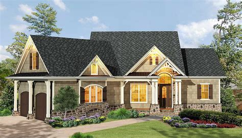 Gabled 3 Bedroom Ranch Home Plan 15884GE Architectural