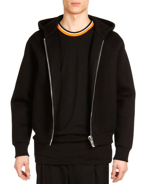 givenchy neoprene big zipper hoodie  black  men lyst