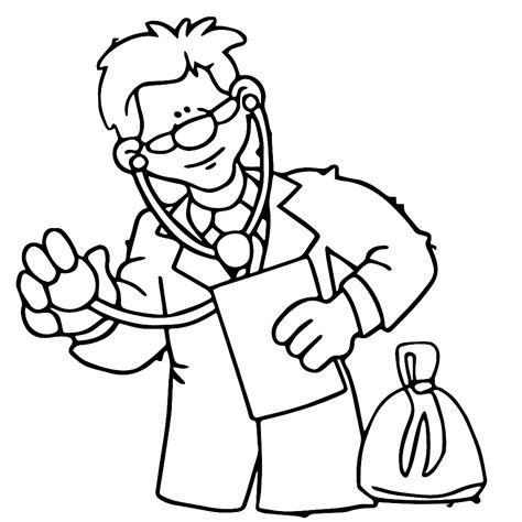 Dokter Kleurplaat by Leuk Voor De Dokter Luistert Met Zijn Stethoscoop