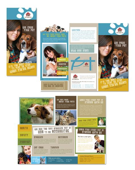dog kennel pet day care tri fold brochure template