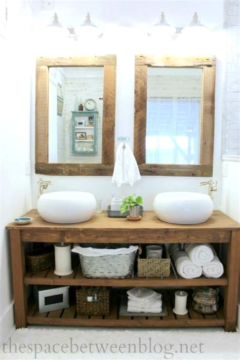 diy wood vanity in the master bathroom