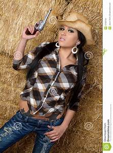 Cowgirl With Gun stock image. Image of fashion, cowboy ...