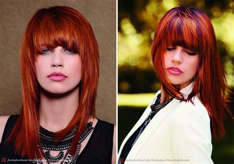 long tapered hairstyle with a deep fringe for red hair