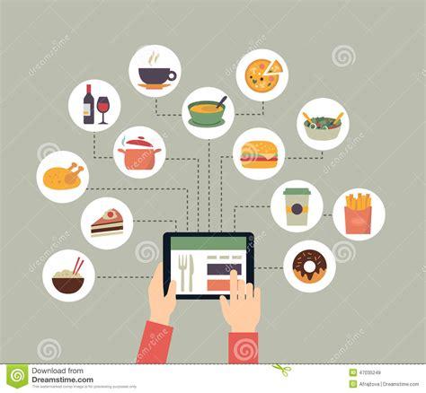 nourriture de commande en ligne illustration de vecteur