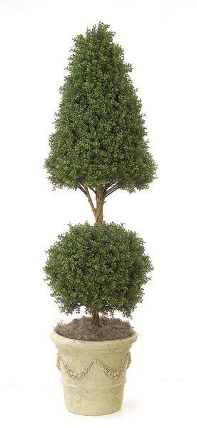6' Plastic Boxwood Cone and Ball Topiary - Limited UV