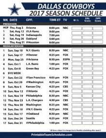 2015 2016 Dallas Cowboys Schedule Printable
