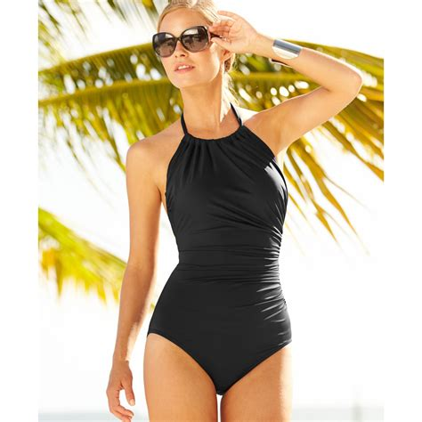 high neck one swimsuit lyst badgley mischka ruched high neck one swimsuit