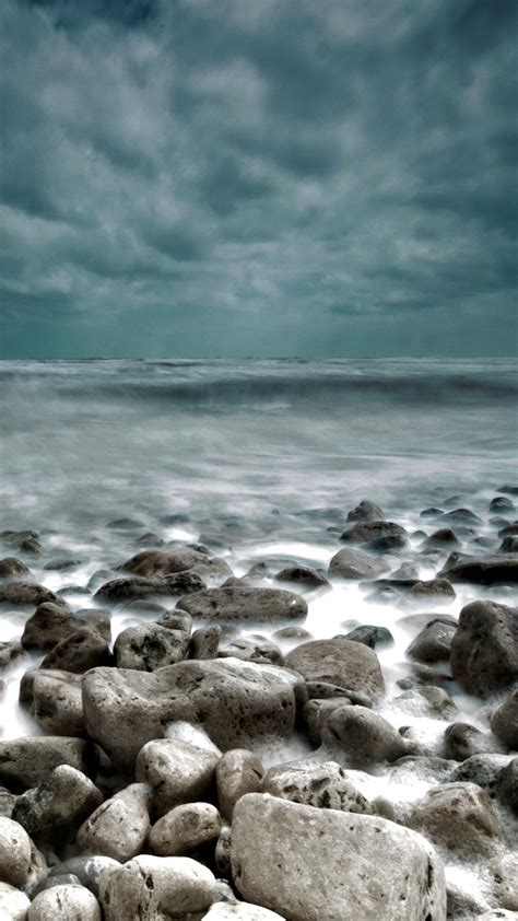 rough sea rocks waves lockscreen android wallpaper
