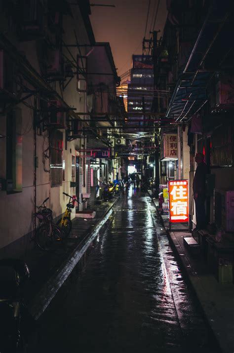streets  shanghai    cyberpunk