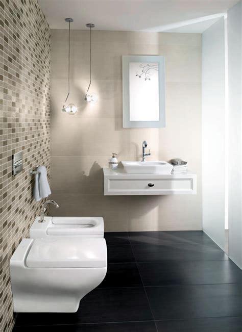 Mosaic tiles in beige bathroom