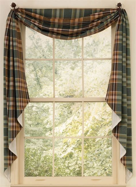 cabin decor curtains wood river lined fishtail swag