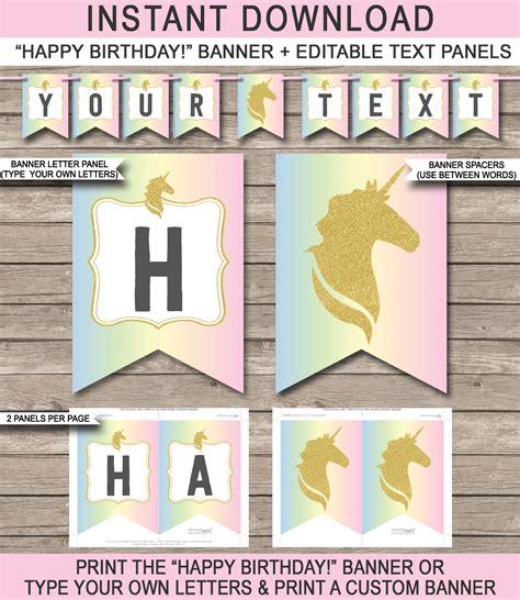 unicorn party printables invitations decorations