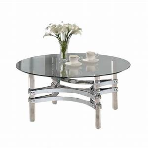 coaster round glass top coffee table in chrome 720708 With round glass and chrome coffee table