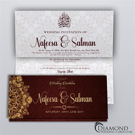 redburgundy royal muslim wedding card light version diamond wedding cards