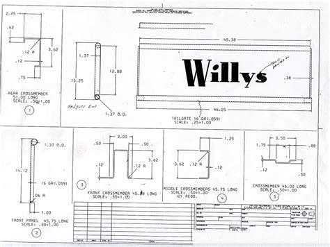 original pickup bed blueprints  willys forum