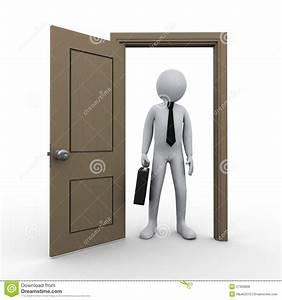3d Businessman And Open Door Stock Illustration - Image ...