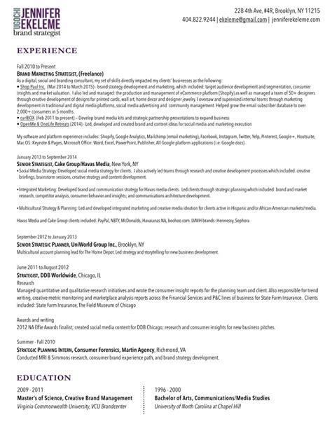 Brand Strategist Resume by Resume U Ekeleme Portfolio Brand Manager Strategist
