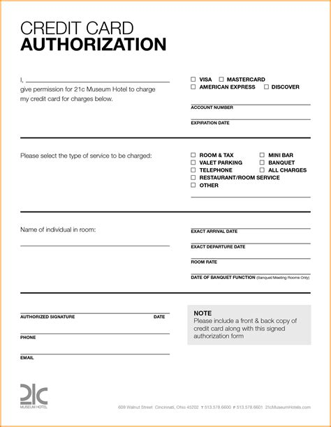 Credit Card Authorization Form Template Card Credit Card Authorization Form