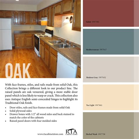 color palette to go with oak kitchen cabinet line for