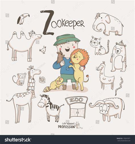 cute vector alphabet profession letter  stock vector