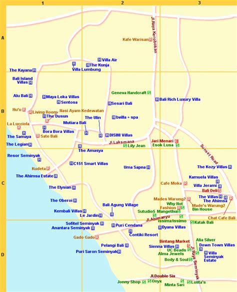 bali maps resort area seminyak kerobokan
