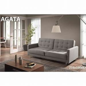 agata canape 3 places convertible lit gris achat vente With canapé bz 3 places