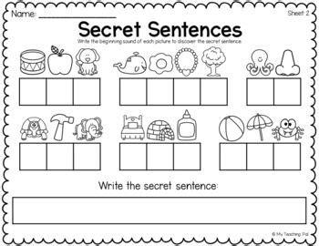 secret sentences worksheets cvc  sight words