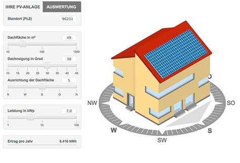 solarstromrechner fuer photovoltaik leistung  berechnen