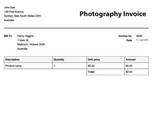 photography invoice template invoice