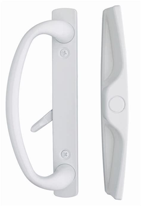white sliding glass door handle set