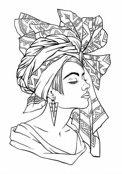 Coloring Pages African Queen Drawing Adults Face