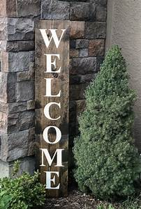 Welcome, Wood, Sign