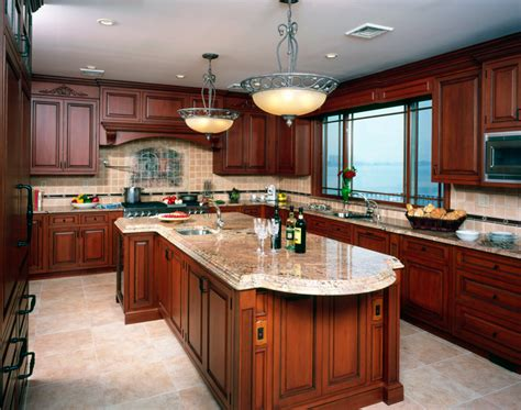 cherry kitchen design what color granite looks best with cherry cabinets 2147