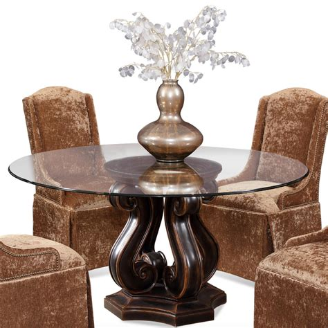 wolf table with glass table top tudor pedestal base table with round glass top by cmi
