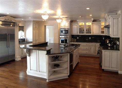 kitchen designs with white cabinets and granite countertops corner pantry cabinets smooth wooden countertop sleek 9903