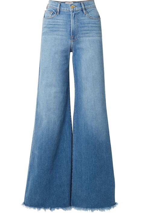Frayed Wide Leg lyst frame frayed faded high rise wide leg in blue